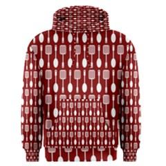 Red And White Kitchen Utensils Pattern Men s Pullover Hoodies