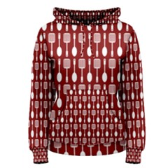 Red And White Kitchen Utensils Pattern Women s Pullover Hoodies