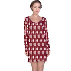 Red And White Kitchen Utensils Pattern Long Sleeve Nightdresses