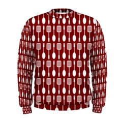 Red And White Kitchen Utensils Pattern Men s Sweatshirts