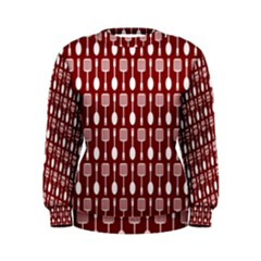 Red And White Kitchen Utensils Pattern Women s Sweatshirts