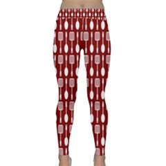 Red And White Kitchen Utensils Pattern Yoga Leggings