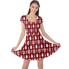 Red And White Kitchen Utensils Pattern Cap Sleeve Dresses