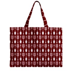 Red And White Kitchen Utensils Pattern Zipper Tiny Tote Bags