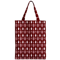Red And White Kitchen Utensils Pattern Zipper Classic Tote Bags
