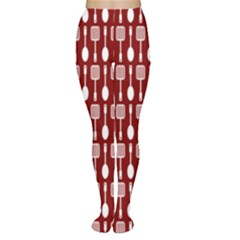 Red And White Kitchen Utensils Pattern Women s Tights