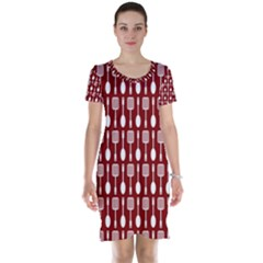 Red And White Kitchen Utensils Pattern Short Sleeve Nightdresses