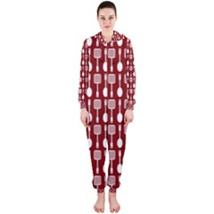 Red And White Kitchen Utensils Pattern Hooded Jumpsuit (ladies)