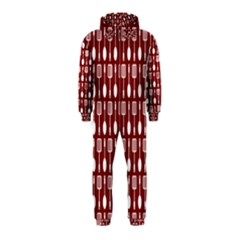 Red And White Kitchen Utensils Pattern Hooded Jumpsuit (Kids)