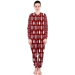 Red And White Kitchen Utensils Pattern OnePiece Jumpsuit (Ladies)
