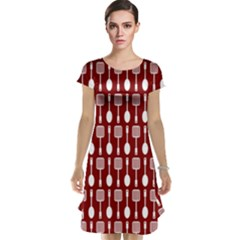 Red And White Kitchen Utensils Pattern Cap Sleeve Nightdresses