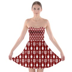 Red And White Kitchen Utensils Pattern Strapless Bra Top Dress