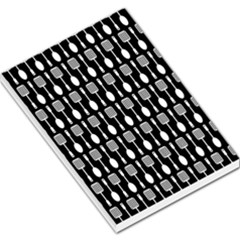 Black And White Spatula Spoon Pattern Large Memo Pads