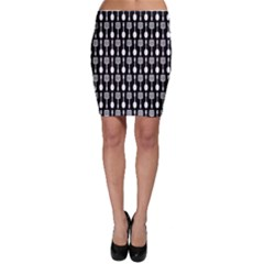 Black And White Spatula Spoon Pattern Bodycon Skirts