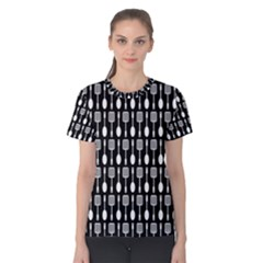 Black And White Spatula Spoon Pattern Women s Cotton Tees