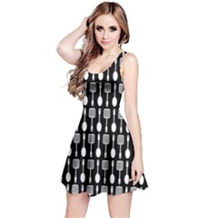 Black And White Spatula Spoon Pattern Reversible Sleeveless Dresses
