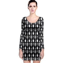 Black And White Spatula Spoon Pattern Long Sleeve Bodycon Dresses
