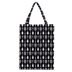 Black And White Spatula Spoon Pattern Classic Tote Bags