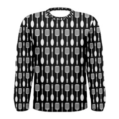 Black And White Spatula Spoon Pattern Men s Long Sleeve T-shirts