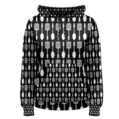 Black And White Spatula Spoon Pattern Women s Pullover Hoodies