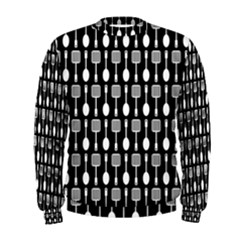 Black And White Spatula Spoon Pattern Men s Sweatshirts