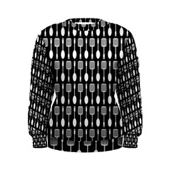 Black And White Spatula Spoon Pattern Women s Sweatshirts