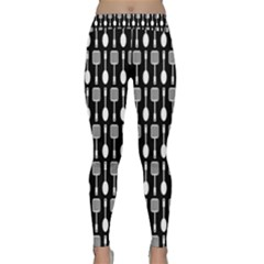 Black And White Spatula Spoon Pattern Yoga Leggings