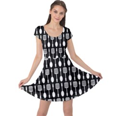 Black And White Spatula Spoon Pattern Cap Sleeve Dresses