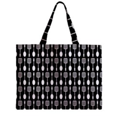 Black And White Spatula Spoon Pattern Zipper Tiny Tote Bags