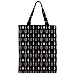 Black And White Spatula Spoon Pattern Zipper Classic Tote Bags