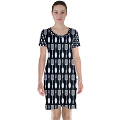 Black And White Spatula Spoon Pattern Short Sleeve Nightdresses