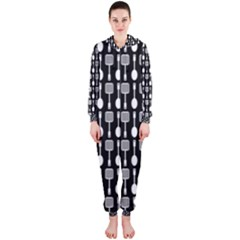 Black And White Spatula Spoon Pattern Hooded Jumpsuit (Ladies)