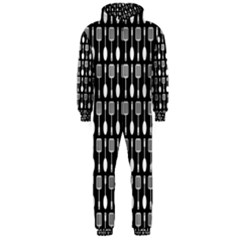 Black And White Spatula Spoon Pattern Hooded Jumpsuit (men)