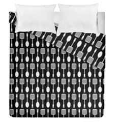 Black And White Spatula Spoon Pattern Duvet Cover (full/queen Size)