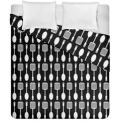 Black And White Spatula Spoon Pattern Duvet Cover (double Size)