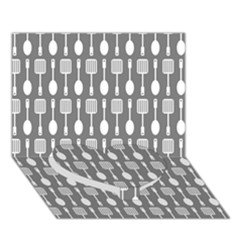 Gray And White Kitchen Utensils Pattern Heart Bottom 3D Greeting Card (7x5)
