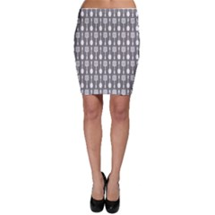 Gray And White Kitchen Utensils Pattern Bodycon Skirts