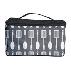 Gray And White Kitchen Utensils Pattern Cosmetic Storage Cases