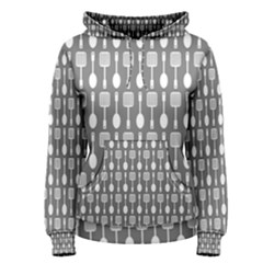 Gray And White Kitchen Utensils Pattern Women s Pullover Hoodies