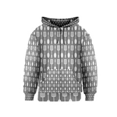 Gray And White Kitchen Utensils Pattern Kids Zipper Hoodies