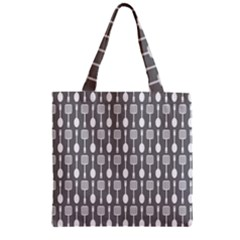 Gray And White Kitchen Utensils Pattern Zipper Grocery Tote Bags