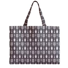 Gray And White Kitchen Utensils Pattern Zipper Tiny Tote Bags