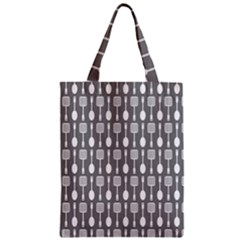 Gray And White Kitchen Utensils Pattern Zipper Classic Tote Bags