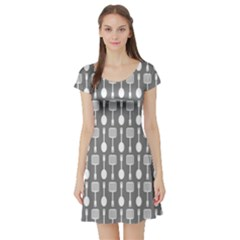 Gray And White Kitchen Utensils Pattern Short Sleeve Skater Dresses