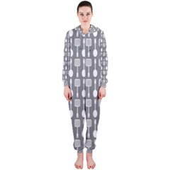 Gray And White Kitchen Utensils Pattern Hooded Jumpsuit (Ladies)