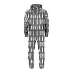 Gray And White Kitchen Utensils Pattern Hooded Jumpsuit (kids)