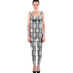 Gray And White Kitchen Utensils Pattern OnePiece Catsuits