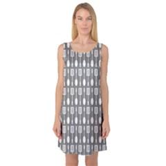 Gray And White Kitchen Utensils Pattern Sleeveless Satin Nightdresses