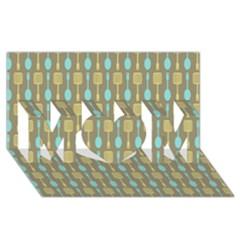 Spatula Spoon Pattern MOM 3D Greeting Card (8x4)