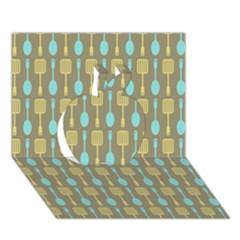 Spatula Spoon Pattern Apple 3D Greeting Card (7x5)